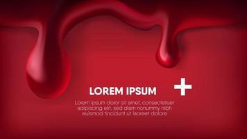 realistischer schmelzender Blutstropfen auf Rot vektor