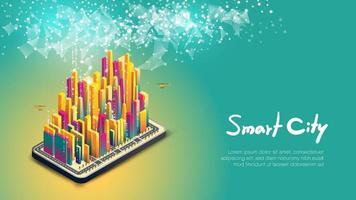 Gruppe von bunten Gebäuden auf Smartphone Smart City Design vektor