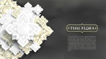 Papierschnitt weiß und Gold Blumen auf Tafel Textur