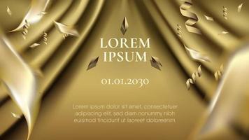 goldener Vorhang plus Streuband und verschwommenes Konfetti vektor