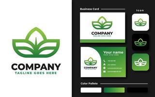 grünes Farbverlaufsblatt-Branding-Set vektor
