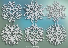 Eleganta Ornamental Snowflakes - Vektor uppsättning