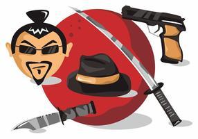 Yakuza Symbole assoziierten Japan Vektor Set