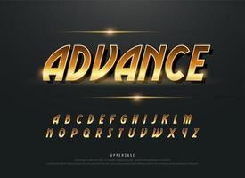 alfabetet retro moderna guld metalliska alfabetet