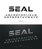 sport djärv retro minimalistisk modern alfabetet teckensnittsuppsättning vektor