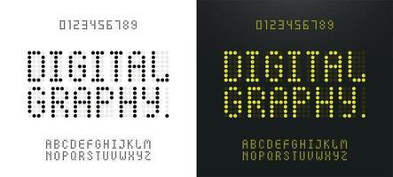 ledde gult digitalt grönt alfabet och siffror vektor