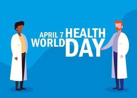 Weltgesundheitstagkarte mit Ärzten