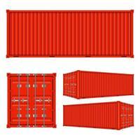 Frachtcontainer aus verschiedenen Ansichten vektor