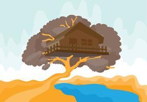 Trädhus med flod Vektor illustration
