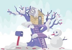 Snögubbe träd hus vektor illustration