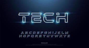 Technologie abstrakte Neon Alphabet Schriftart