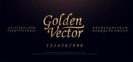 gyllene färgade metallmanus alfabetet teckensnitt vektor