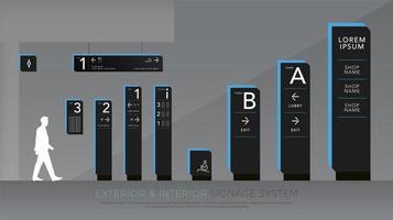 svart och blå exteriör och interiör skyltar uppsättning vektor