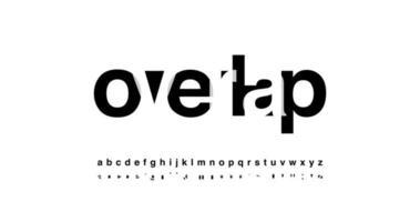 modern alfabetet typsnitt överlappar stil