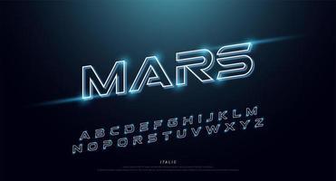 Technologie leuchtet kursiv Neon Schrift