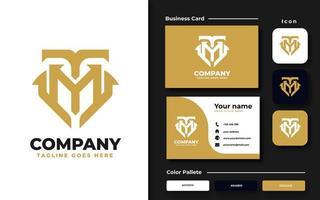 initial tm mt guld monogram varumärkes set vektor