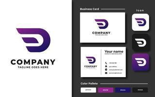 kreativa professionella trendiga bokstaven d branding set vektor