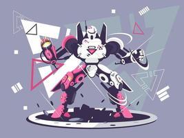 rosa und weißer Kampfroboter vektor