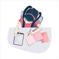 Draufsicht des Mädchens, das zu Hause auf Tablette studiert