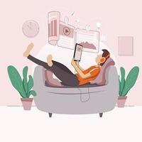 Junge, der online im Entspannungsmodus lernt