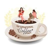 Kaffeetagdesign mit Frauen, die auf Kaffeetasse sitzen