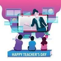 glad lärares dagliga digitala livscykeldesign vektor