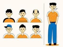 verschiedene Gesichtsstile von Männern