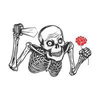 skalle med kniv och röd blomma vektor