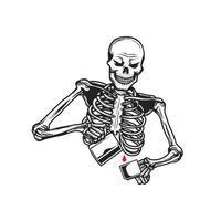 Barista-Skelett in Tasse gießen
