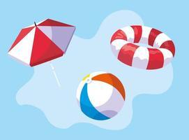 uppsättning sommar- och semesterikoner
