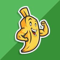 söt banantecknad maskot som visar muskler vektor