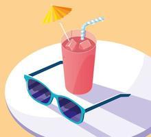 tropisches Outdoor-Entspannungsdesign am Strand vektor