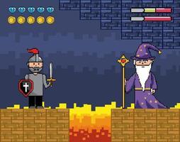 pixel-art scen med soldat och trollkarl