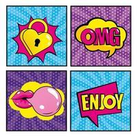 Satz von Pop-Art-Comic-Ikonen vektor
