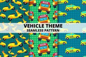 fordon och transport sömlösa mönster set