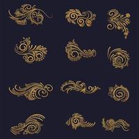 konstnärlig gyllene blommig dekorationsuppsättning vektor
