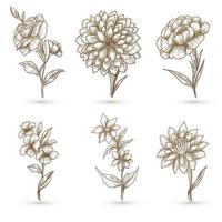 vacker konstnärlig blommig skissuppsättning vektor