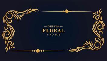 rektangel prydnads gyllene dekorativa blommor hörn ram vektor