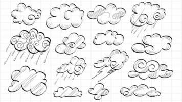 Satz von Hand gezeichneten Wolken Hand zeichnen Skizzen vektor