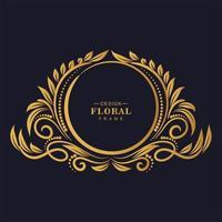 cirkulär dekorativ gyllene dekorativ blommig ram vektor