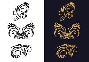 svart och guld kreativa blommor dekorativa uppsättning vektor