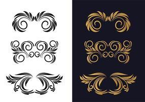 vackra svart och guld blommiga dekorativa mönster vektor