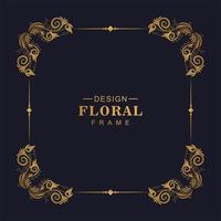 dekorativ gyllene dekorativ blommig fyrkantig ram vektor