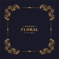 dekorativer goldener dekorativer quadratischer Blumenrahmen vektor