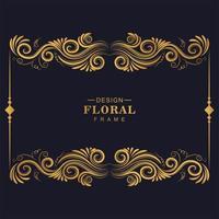 gyllene blommor konstnärlig ram design vektor
