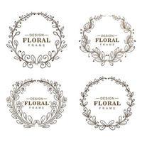 handgezeichnete runde Ornamente Blumenrahmen vektor