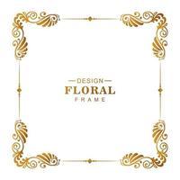 dekorativ gyllene dekorativ blommig ram vektor