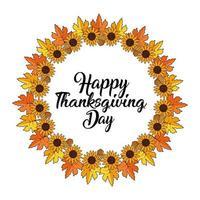 Blätter und Sonnenblumenkranz für Thanksgiving-Grußkarte