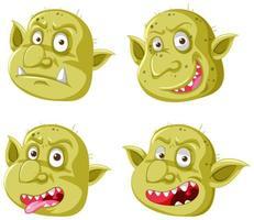 uppsättning av gula goblin eller troll ansikten vektor