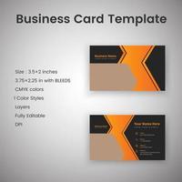 svart och orange kreativa visitkortsmall vektor